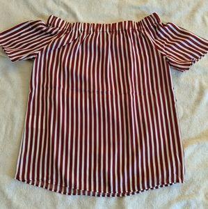 *NWOT* H&M Off The Shoulder Striped Shirt